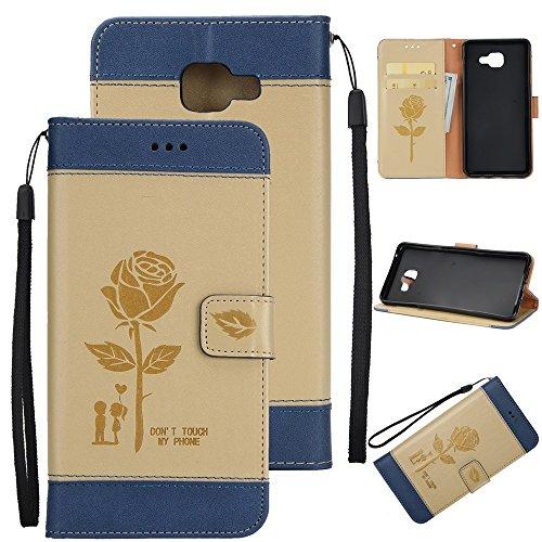 Dual Color Matching Premium PU Leder Flip Stand Case Cover mit Card Cash Slots und Lanyard für Samsung Galaxy A520 ( Color : Purple ) Gold