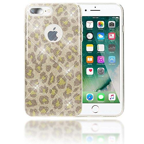 iPhone 8 Plus / 7 Plus Custodia in Silicone di NICA, Glitter Leopardo Copertura Protezione, Slim Cover Case Protettiva Scintillio Bumper per Telefono Cellulare Apple iPhone 7+ / 8+ - Argento Grigio Argento Verde