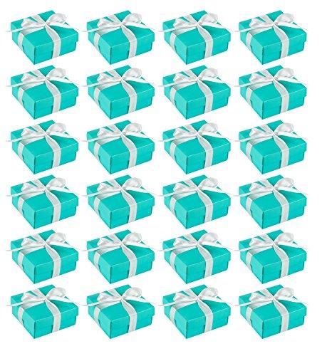 Geschenk-Boxen-24er Pack Candy Favor Boxen, Kleines Geschenk-Box Perfekt für Hochzeitsgastgeschenke, Jubiläen und Engagement Parteien-Türkis, 9,5x 9,5x 4,2cm ()