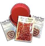 Valentinstag Cupcake Set - Inklusive 24 Rot Hüllen 24 Liebes Herzen Essbare Backoblaten Cake topper & 30g 1mm Schattierungen von Rosa Mini Knäuel Zucker streusel