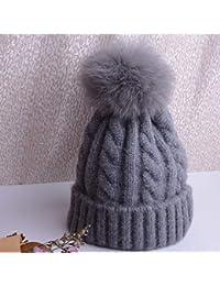 HAOLIEQUAN Gorra De Invierno para Mujer Gorra De Invierno Gorro con Pompon  Gorros De Punto Sombreros De Gorrita Mujer para Mujer Pom… bfb4ae5ee077