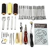 Holzsammlung 48 Stücke Leder Werkzeuge Set Leder Handwerk Hand Nähen Werkzeug Set DIY Kit Nähzeug Zubehör