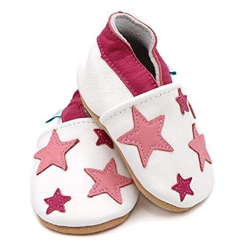 Dotty Fish weiche Lederschuhe für Babys und Kleinkinder - Erste Laufschuhe und Krabbelschuhe für Mädchen - Größen 16 - 28 (Neugeborene - 3-4 Jahre) Weiß und Rosa-Sterne