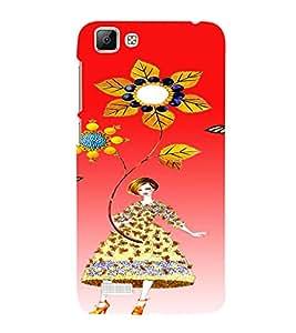 PrintVisa Cute Flower Girl Butterfly Design 3D Hard Polycarbonate Designer Back Case Cover for VivoV1