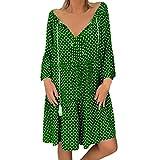 Allegorly Femme Robe de Plage d'été Bohême Manches Longues Chic Mini Robe de Plage Grande Taille Sey Cache-Maillots et Sarongs Rétro