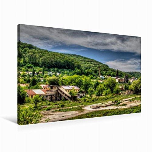 Leinwand Stahlwerksgelände 90x60cm, Special-Edition Wandbild, Bild auf Keilrahmen, Fertigbild auf hochwertigem Textil, Leinwanddruck, kein Poster