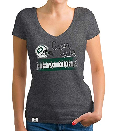 Shirtdepartment - Damen T-Shirt V-Ausschnitt - Green Gang - NY dunkelgrau-dunkelgrün L - Gang Green T-shirt