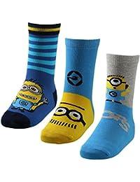 3 Paar Minions Kinder Motiv Socken in tollen leuchtenden Farben