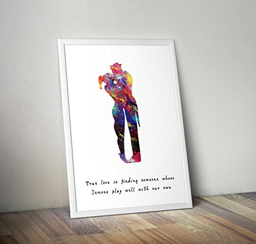 Harley Quinn inspirierte Poster - Joker Aquarell Print - Alternative TV/Movie Prints in verschiedenen Größen (Rahmen nicht im Lieferumfang enthalten)
