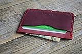 Leder Rotes Ausweishülle, Portemonnaie, langlebige Aufbewahrung von Kreditkarten und Banknoten. Geldbörse, Personalisiertes Geschenk mit Prägung, Gravur, Lederbrieftasche Kartenhülle