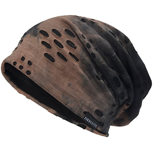 VECRY Herren Jersey Slouch Mütze Sommer Skullcap (B-Braun, Dünn Cool)