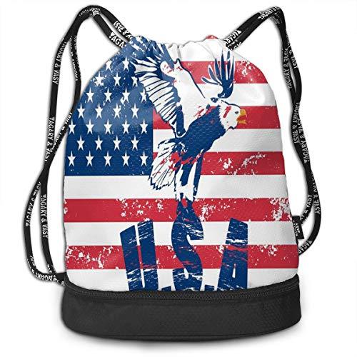 LULABE Printed Drawstring Backpacks Bags,Grunge Looking American National Flag with Eagle and USA Artistic Print,Adjustable String Closure Washington Nationals Ipad