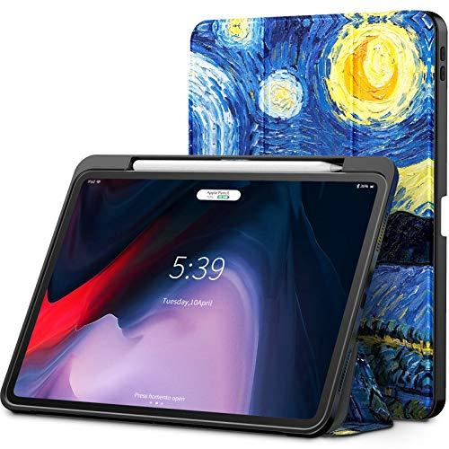 Infiland iPad Pro 11 Zoll 2018 Hülle mit Apple Pencil Halter, Smart TPU Schräges Tuch Schutzhülle Tasche mit Auto Schlaf/Wach Funktion (Unterstützt Das Aufladen des Apple Pencil),Sterne (Tuch, Ipad Tasche)