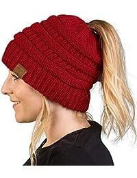 Alexvyan Ponytail Warm Women Stretch Knitted Crochet Winter Cap for Women Girl Female Ladies Cap Red