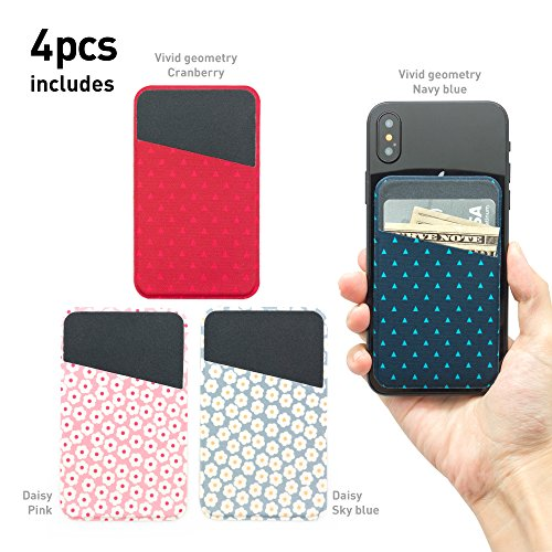SenseAGE Adhesive Universal Pocket Pad (4pcs-Pack), Phone Wallet, Stick-On Card holder, Smartphone Pouch, Card Sleeve – Vivid geometry (Navy blue and Cranberry) & Daisy (Sky blue and Pink) (Navy Daisy)