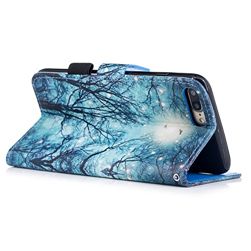 iPhone 7 Plus Hülle,iPhone 8 Plus Hülle,iPhone 7/8 Plus Ledertasche Handyhülle Brieftasche im BookStyle,Saincat Kreative Karikatur Muster PU Leder Hülle Wallet Case Folio Schutzhülle Scratch Bumper Ku Grüne Wälder