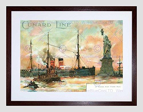 POSTCARD SHIP STATUE LIBERTY UPPER NEW YORK BAY CUNARD LINE ART PRINT B12X7635 (Bay Upper)