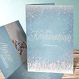 Einladungskarten für Erstkommunion, Zauberlicht Kommunion 15 Karten, Vertikale Klappkarte 105x148 inkl. weiße Umschläge, Blau