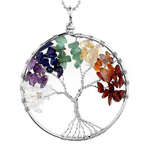 JOVIVI Edelstein Chakra-Anhänger Baum des Lebens Anhänger Pandent mit 55cm Kette,Lebensbaum Halskette für Damen Herren (7 Stein)