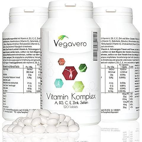 Multivitaminico e Multiminerale Vegavero | Completamente Vegetale | Con Vitamina A, C, D3, E, Zinco e Selenio | Per Uomo e Donna | Complesso di vitamine per Sistema Immunitario, Metabolismo e Capelli | Vegan | Scorta di 4 mesi