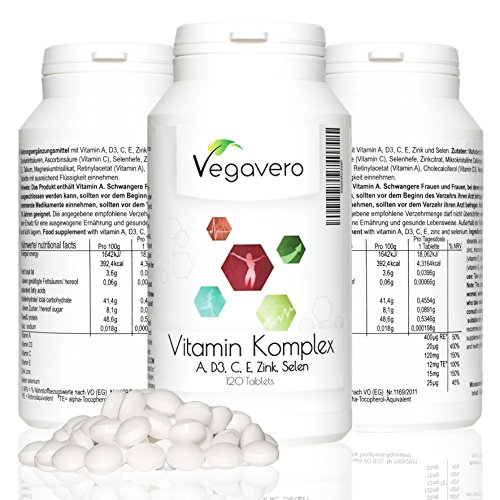 Vitaminkomplex 147 mg | 120 Tabletten | Kombipräparat mit Vitamin A, C, D3, E, Zink & Selen | Immunsystem - Stoffwechsel - Haut - Haar - Sehkraft | Optimal dosiert | 4 Monatsvorrat | Vegan | Vegavero: from Nature ▪ with Passion ▪ for You!