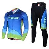 Asvert Maillot Pantalon Cyclisme Manches Longues Respirant Séchage Rapide Costumes pour Vélo VTT Unisexe (Aquatique Bleu, M)...