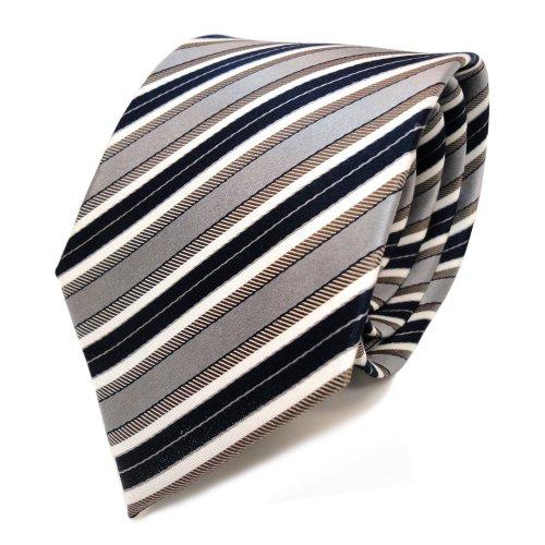 Designer Seidenkrawatte braun grau blau dunkelblau creme gestreift - Krawatte Tie (Blau Grau Seidenkrawatten)