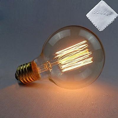 Boladge Vintage Round Light Incandescent Bulb Lamp Retro Edison E27 Srew 40W Fiaments Lights Bulb from Boladge