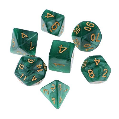edrische Würfel Set für Dungeons und Drachen D&D RPG MTG Spiel, inkl.D20 D12 D10 D8 D6 D4 - Grün ()