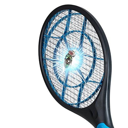 Foto de Raqueta eléctrica mata mosquitos, matamoscas eléctrico y otros insectos voladores, raqueta exterminadora insectos, raqueta anti-insectos.