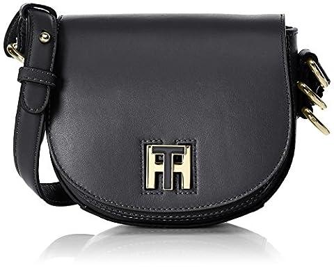 Tommy Hilfiger Damen Th Twist Leather Mini Crossover Umhängetasche, Schwarz (Black), 6x15x17 cm