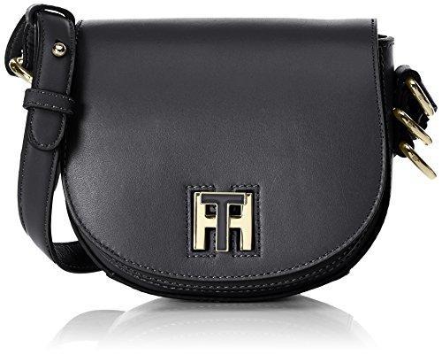 Tommy Hilfiger Th Twist Leather Mini Crossover, Sacs bandoulière femme, Schwarz (Black), 6x15x17 cm (L x H P)