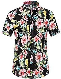 Blumen-Blusen-Knopf-unten-Kurzschluss-Hülsen-Hemd Tops für Herren, Amlaiworld Kausale Art und Weise T-Shirt
