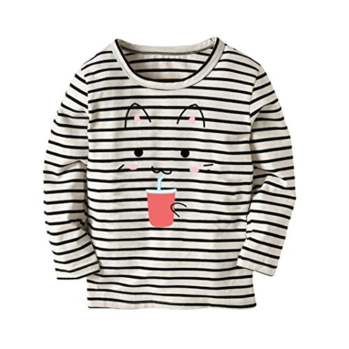 zeT-Shirt Tops Neugeborene Babykleidung Kleinkind Bluse Kinderbekleidung Babykleider Mädchen Junge Rundhals Langarmshirts 2-7Jahre (Schwarz, 3T) (Top Ideen Für Halloween Kostüm 2017)