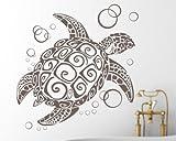 blattwerk-design Wandaufkleber-Wandtattoo, Aufkleber, Schildkröte M052 Azurblau