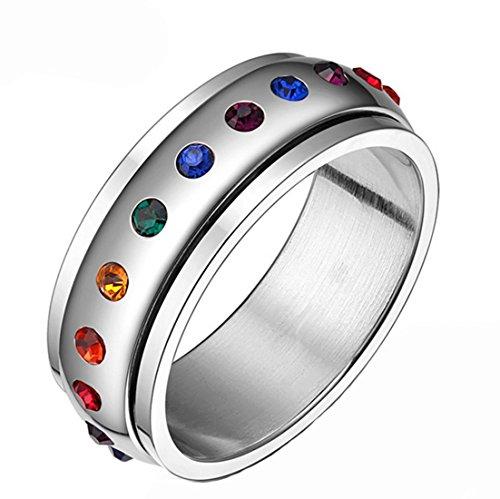 Fengteng Edelstahl Rotierend Ring Intarsien Diamant Lesben Homosexuell Stolz LGBT Ring Hochzeit Eternity Verlobungsring Regenbogen Ring (7) (Braut Sieben Eine Für Brüder)