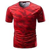 Venmo Camisetas Hombre Originales,Camisas Hombre,Deportivas Hombre,Polos Hombre,Hombres Casual Camiseta de Manga Corta de Camuflaje,Hombres Slim Fit Camisetas Tops Blusa (Rojo, L)