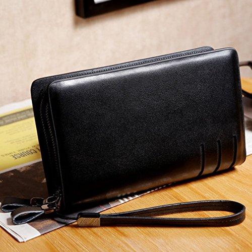 ZB Männer Handbeutel Lange Brieftasche Handtasche mit Multifunktions-Business Clutch Tasche Freizeit-Paket Schwarz