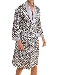GOMY Men s Summer Pyjamas Luxurious Kimono Soft Satin Robe with Matching  Shorts Nightgown Long-Sleeve 3f55a7355