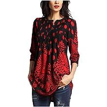 3294a03ab49 MINASAN Tunique Femme Élégant Vintage Fleur Motif Manches 3 4 T-Shirt  Imprimé Col
