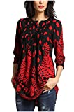 Minasan Summer Women Red Elegant Vintage Floral Pattern 3/4 Sleeve T-Shirt Round Neck V-Neck Pleated Long Shirts Blouse Tops with Button L