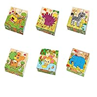 6 in 1 Kids Early Education Wooden 3D Cube Puzzle Learning Toy -Animals
