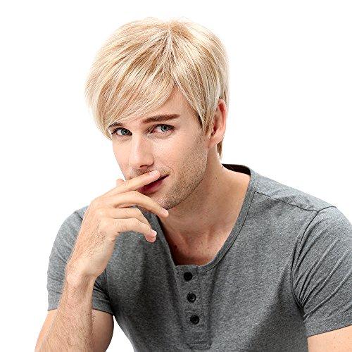STfantasy Herren-Perücke, blond, mehrfarbig, kurz, gerade, für Männer, schick, Anime-Kostüm, Cosplay, alltäglicher Gebrauch Men Wigs (Für Männer Kostüme Fantasy)