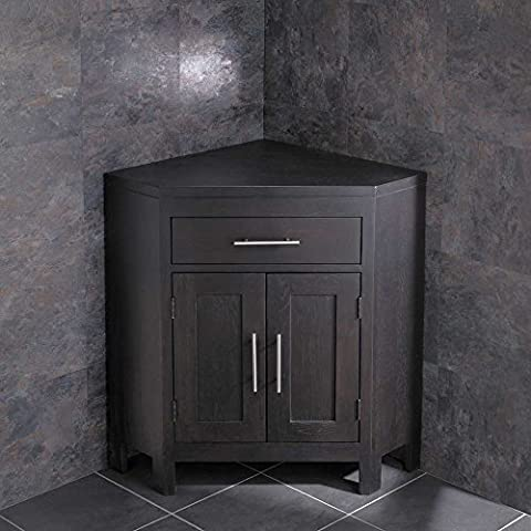 Clickbasin Alta Solid Wenge Oak Double Door Corner Cabinet Without Basin