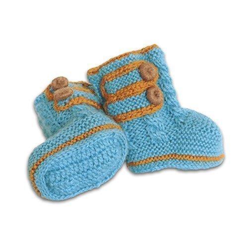 Mama Ocllo - Faire Baby-Boots aus 100% Baby Alpaka Wolle (eisblau, one size), Handmade, Handgestrickt