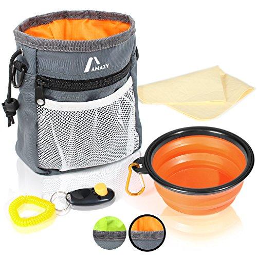 Amazy Futterbeutel für Hunde + faltbarer Trinknapf + Klicker + Kotbeutel + Tuch – Praktischer Leckerlibeutel mit integriertem Hundekotbeutel Spender und vielen nützlichen Extras (Orange)