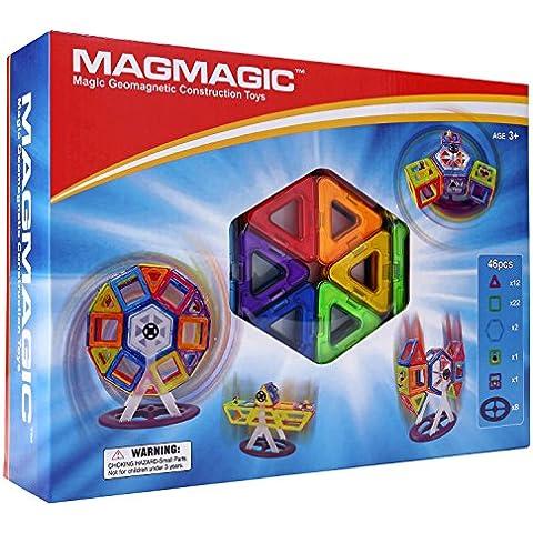 Magmagic Building Block giocattoli magnetici,46 pcs Stacking Set Designer Kit