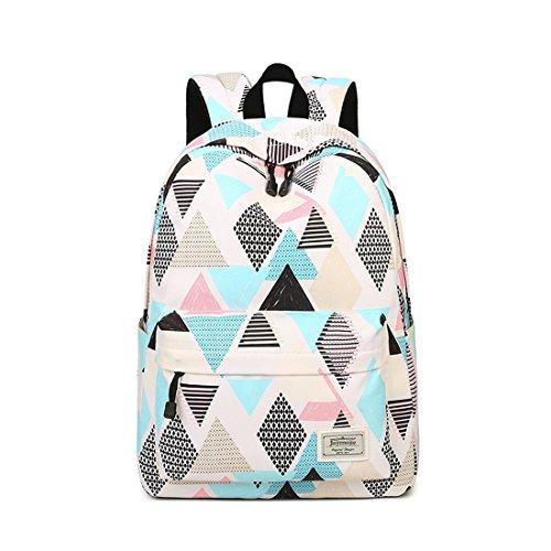 Joymoze Wasserdicht Schule Rucksack für Mädchen Mittelschule Süß Bücher Tasche Tagesrucksack für Frauen Rhombus 843