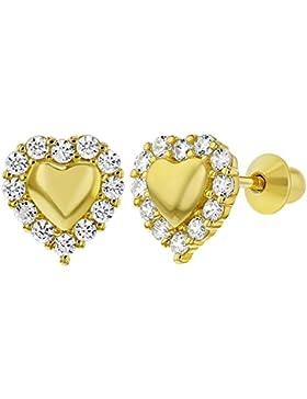 In Season Jewelry Mädchen - Schraubverschluss Ohrringe Herz 925 Sterling Silber Klarer CZ Zirkonia Gelb Gold Geflammt