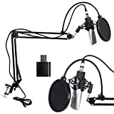 Microphone à Condensateur Professional Kit Set Mobile-Bobine Radiodiffusion Enregistrement Studio Micro pour Ordinateur avec Support de Suspension de Bras de Ciseaux Réglable